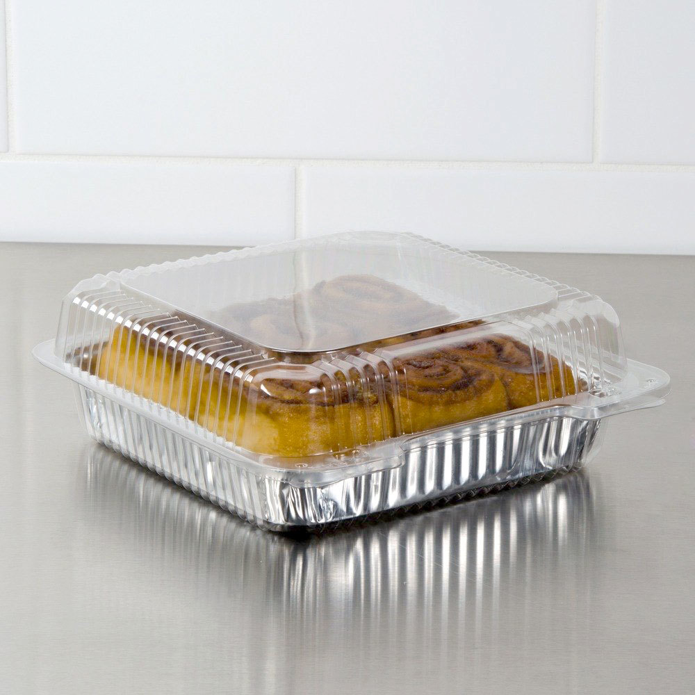 "Dart Solo C80UT1 StayLock 10 1/2"" x 8 5/8 x 3 3/4"" Clear Hinged Plastic 10 1/2"" Deep Base Oblong Container - 200/Case"
