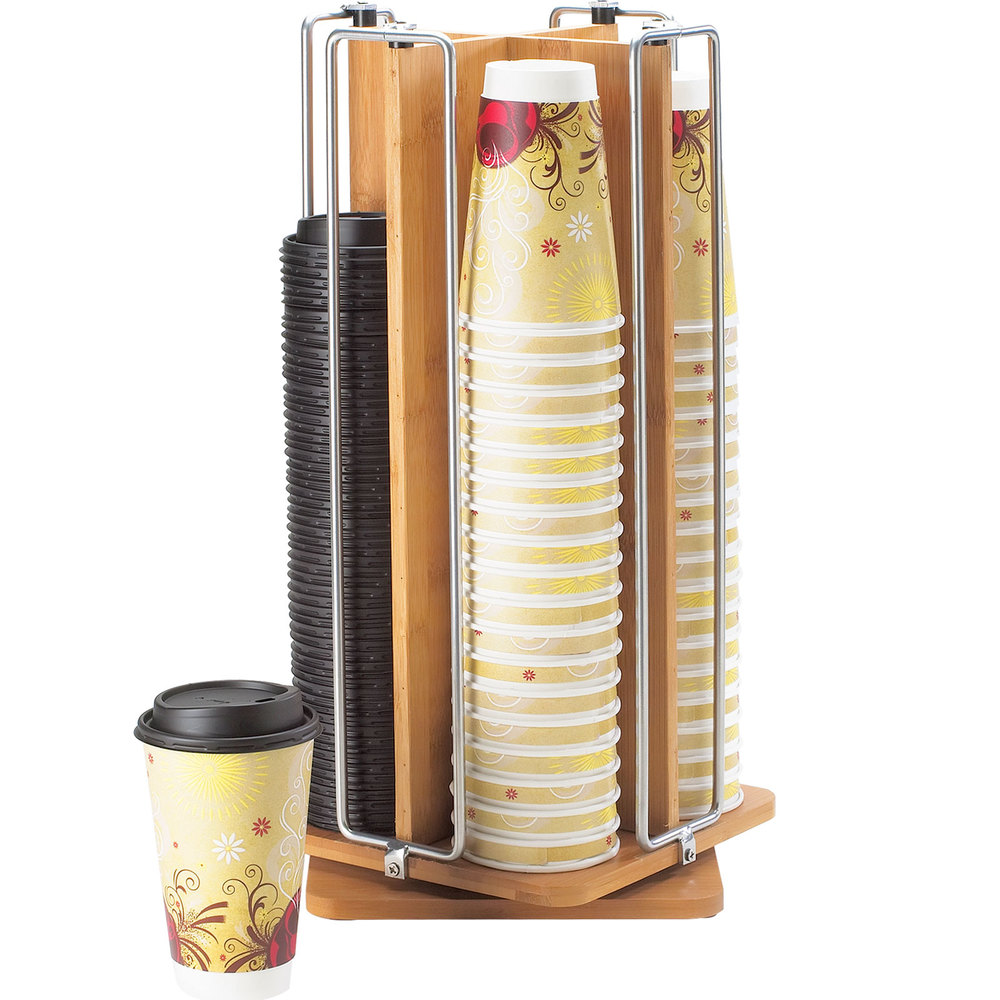 "Cal-Mil 1468 Bamboo Revolving Cup / Lid Organizer - 9"" x 9"" x 18 1/2"""