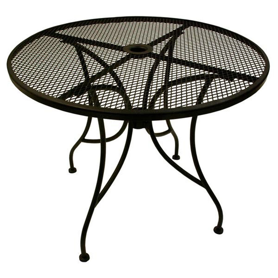 american tables seating alm30 30 round mesh top outdoor table with umbrella hole. Black Bedroom Furniture Sets. Home Design Ideas
