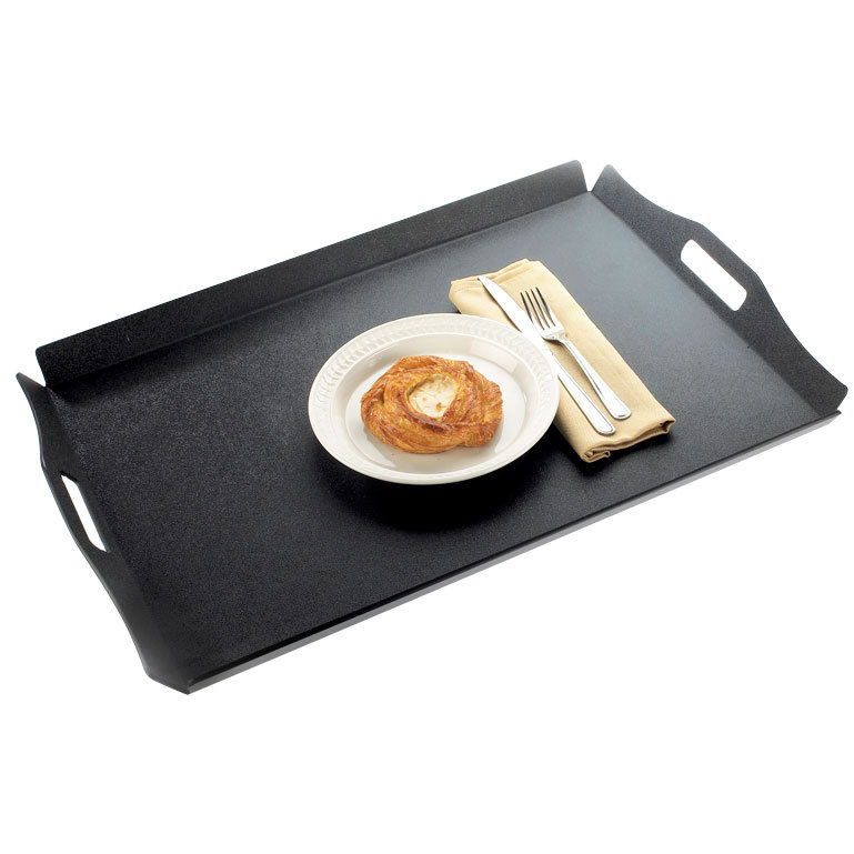 "Cal-Mil 930-3-13 26"" x 18"" Black Room Service Tray with Raised Edges"