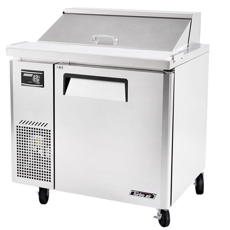 "Turbo Air JST-36 36"" J Series Refrigerated Salad / Sandwich Prep Table with One Door and Side Mount Compressor"