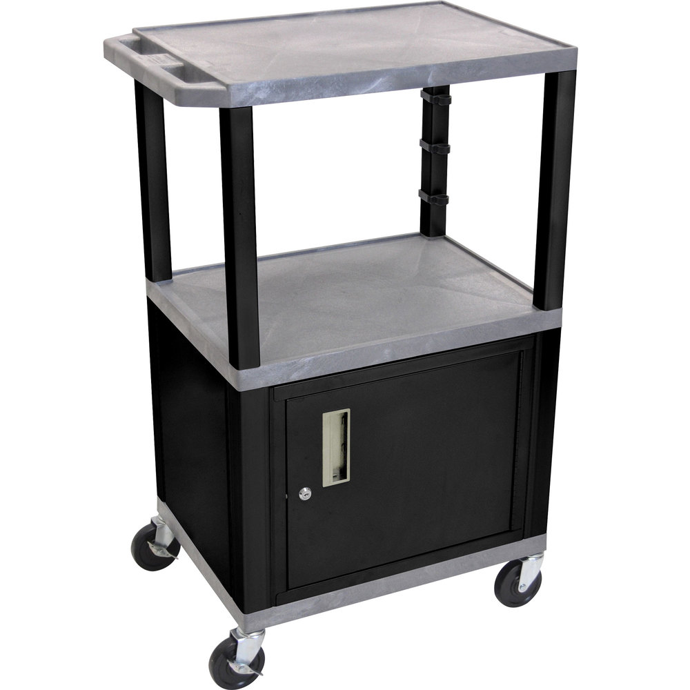 "Luxor / H. Wilson WT2642GYC2E-B Gray Tuffy Two Shelf Adjustable Height A/V Cart with Locking Cabinet - 18"" x 24"""