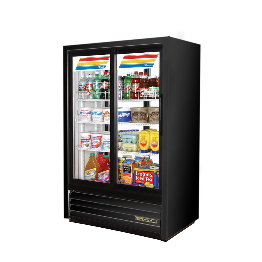 Black True GDM-33CPT-54 Slide Door Narrow Depth Convenience Store Glass Door Merchandiser Refrigerator - Pass-Thru Low Profile 15 Cu. Ft.