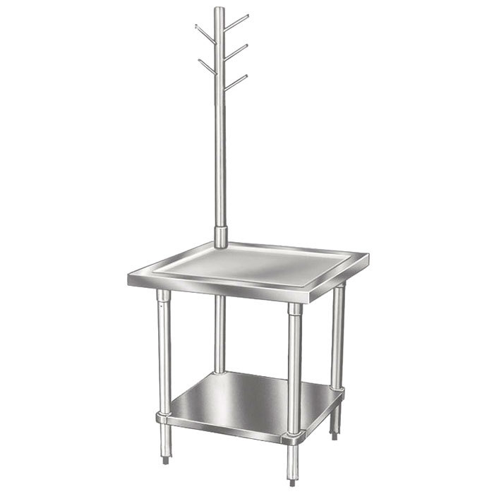 "Advance Tabco MX-SS-242 24"" x 24"" Mixer Table with Utensil Rack and Stainless Steel Undershelf"