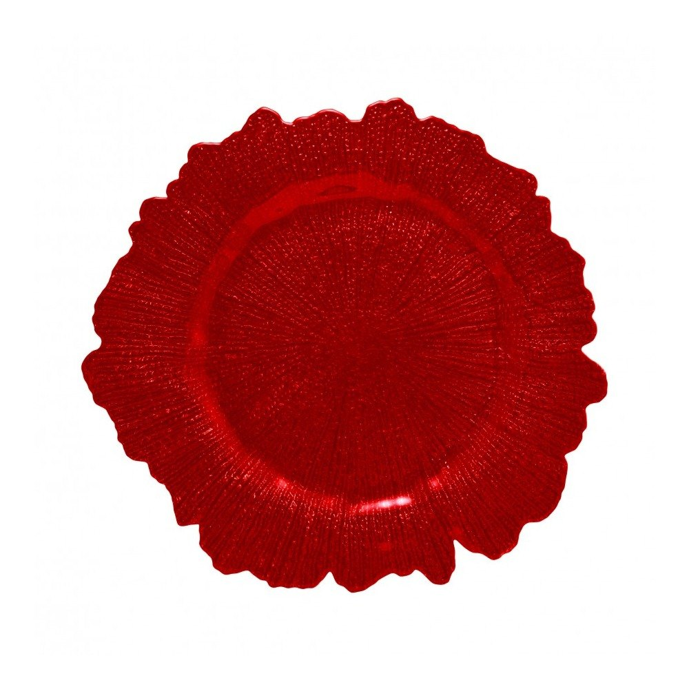 "10 Strawberry Street SPR340 13 3/4"" Sponge Red Glass Charger Plate"
