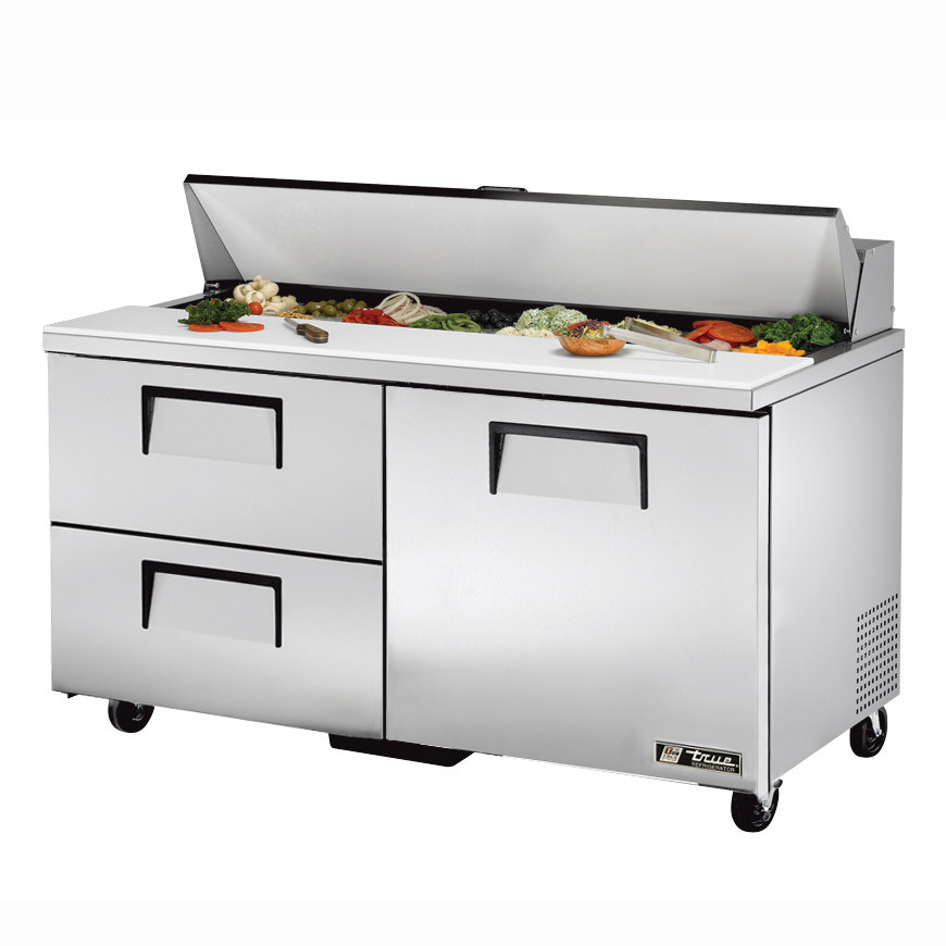 True TSSU-60-16D-2 60 inch One Door, Two Drawer Sandwich / Salad Prep Refrigerator - Sixteen Pans
