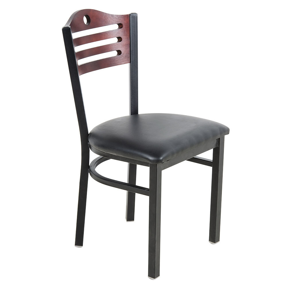 "Lancaster Table & Seating Mahogany Finish Bistro Dining Chair with 1 1/2"" Padded Seat"