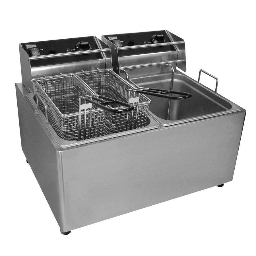Grindmaster Cecilware Cecilware EL2X25 Stainless Steel Electric Commercial Countertop Deep Fryer with Two 25 lb. Fry Tanks - 240V, 3200W at Sears.com