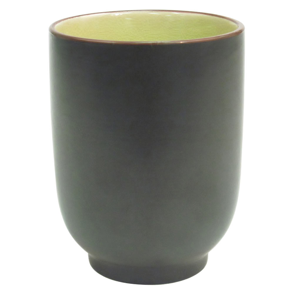 CAC 666-1-G Japanese Style 8 oz. China Cup - Black Non-Glare Glaze / Golden Green - 36/Case