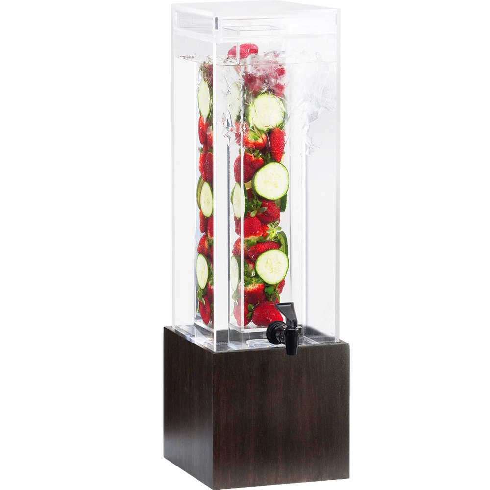 "Cal-Mil 1527-1INF-96 1.5 Gallon Midnight Bamboo Infusion Beverage Dispenser - 8 1/4"" x 9 3/4"" x 17 3/4"""