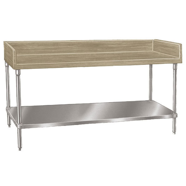 "Advance Tabco BS-367 Wood Top Baker's Table with Stainless Steel Undershelf - 36"" x 84"""