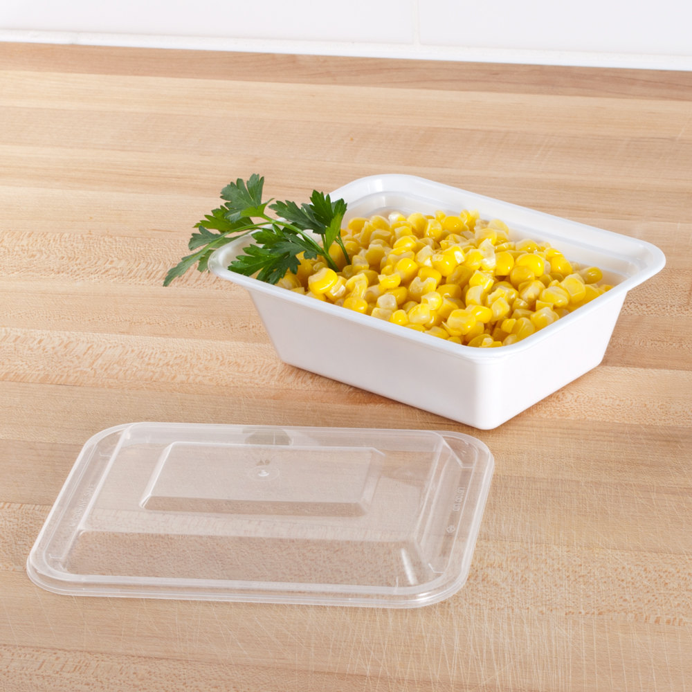 "12 oz. White 5"" x 4"" x 1 1/2"" Rectangular Microwavable Container with Lid - 150/Case"