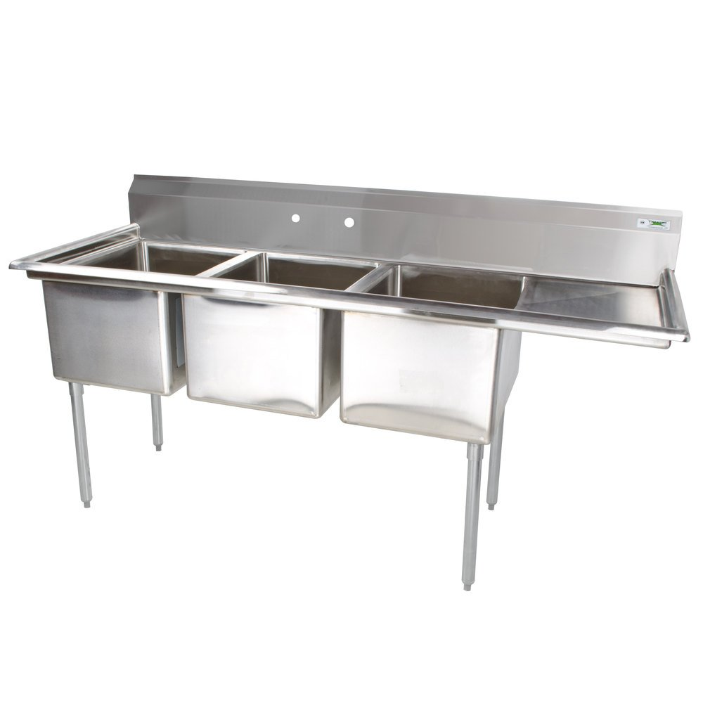 Sinks Regency 16 Gauge Two Compartment Stainless Steel Commercial Sink ...