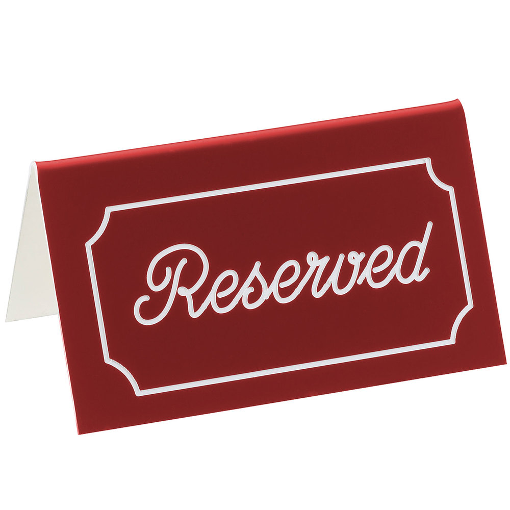 "Cal-Mil 273-1 5"" x 3"" Red/White Double-Sided ""Reserved"" Tent Sign"