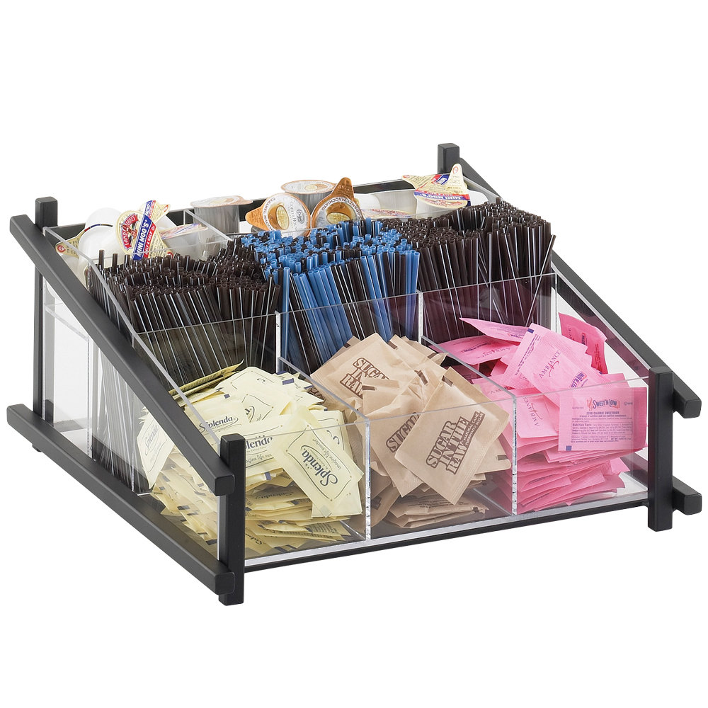 "Cal-Mil 1148-13 Black One by One Condiment Organizer - 13"" x 14"" x 6 1/2"""