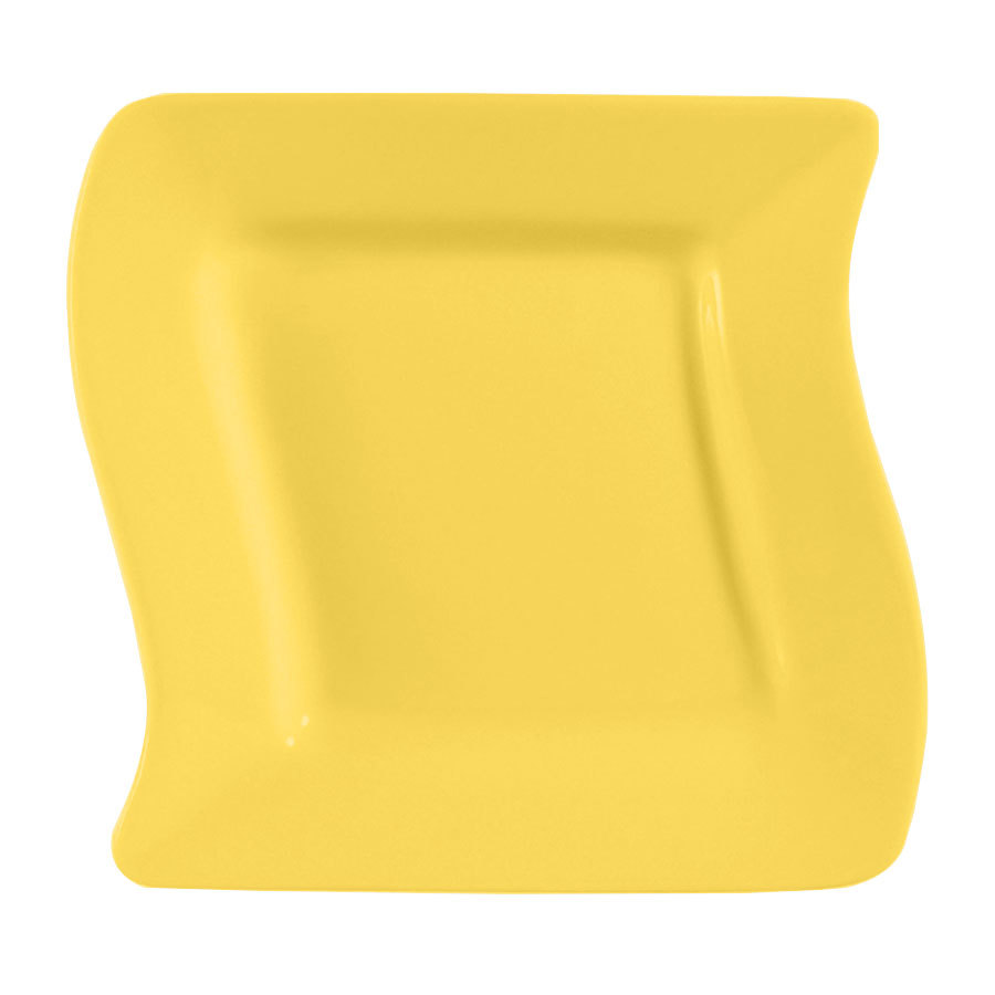 "CAC SOH-21YW Color Soho 12"" Yellow Square Stoneware Plate - 12/Case"