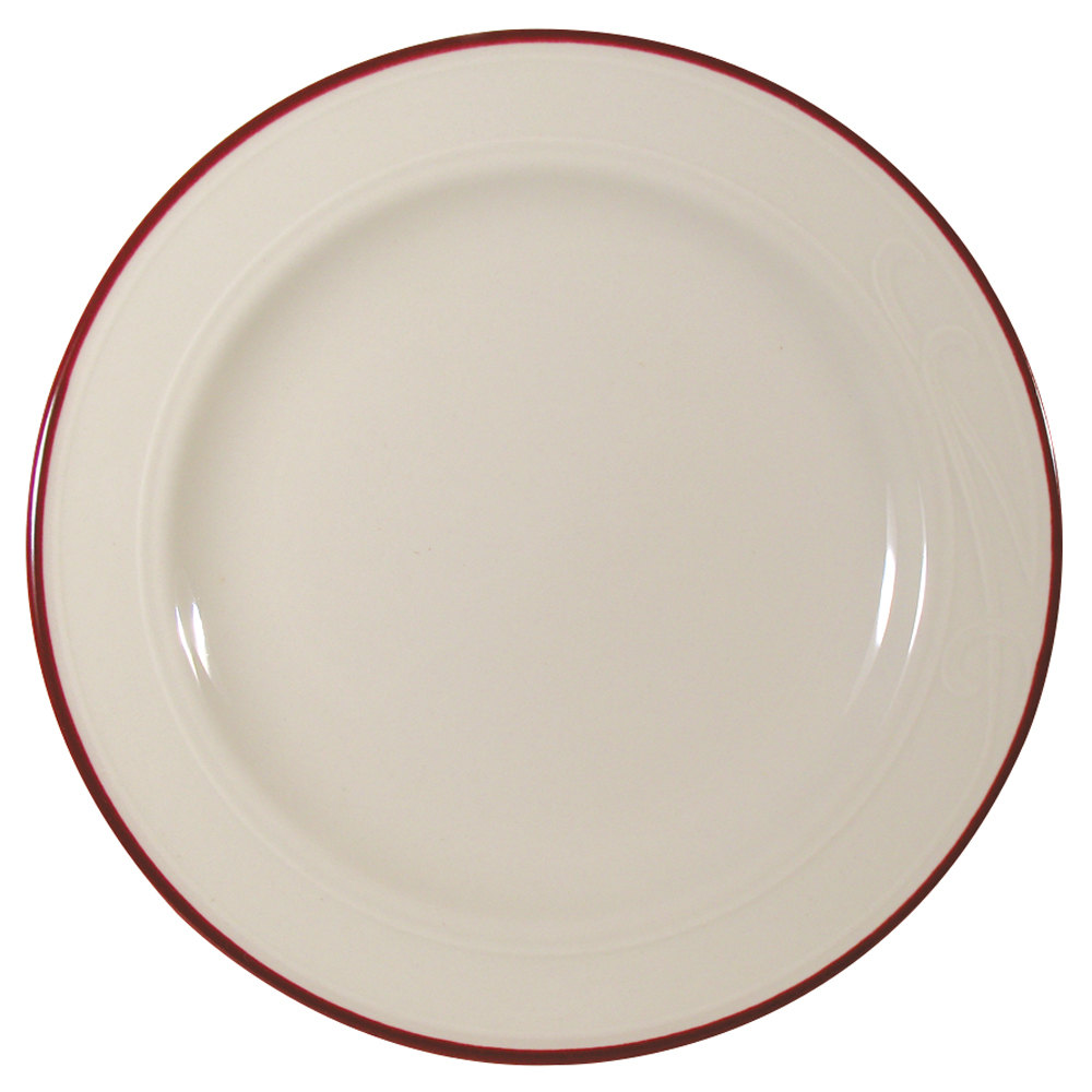 "Homer Laughlin Lydia Maroon 9 3/4"" Off White China Plate - 24/Case"