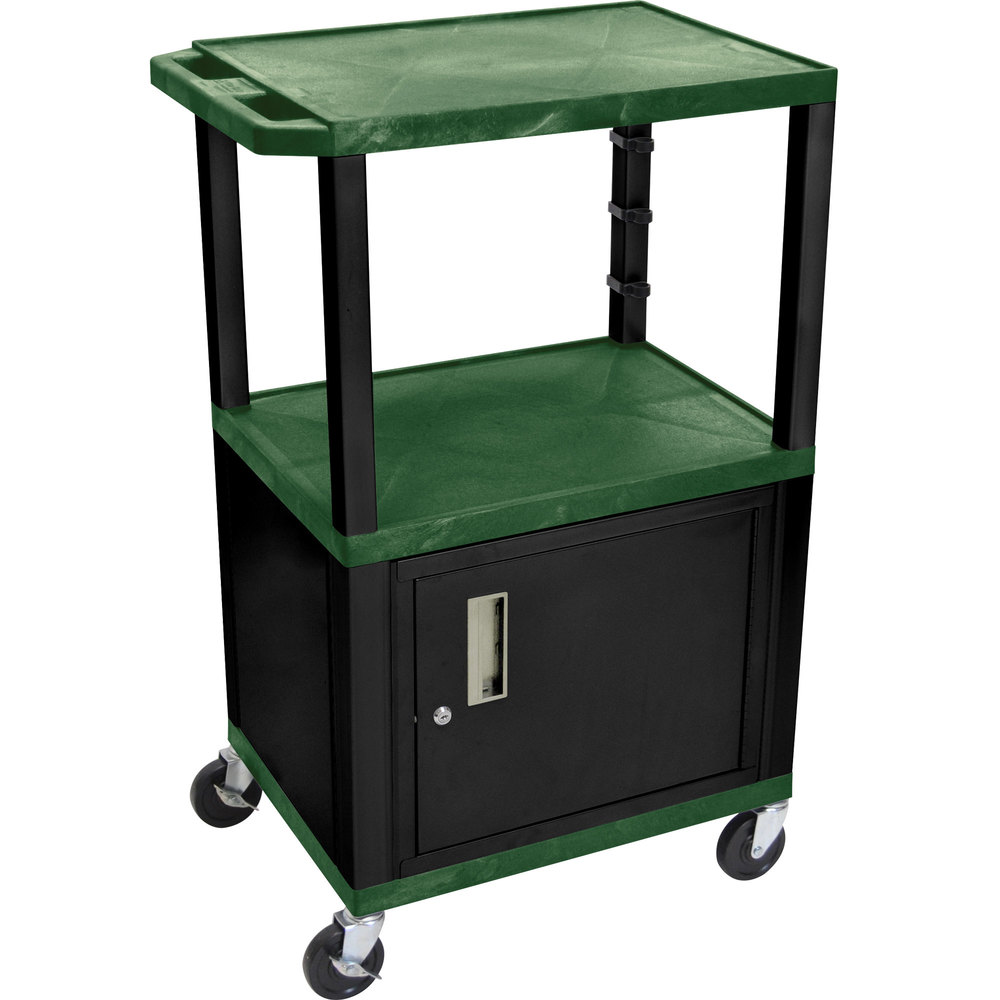 "Luxor / H. Wilson WT2642HGC2E-B Hunter Green Tuffy Two Shelf Adjustable Height A/V Cart with Locking Cabinet - 18"" x 24"""