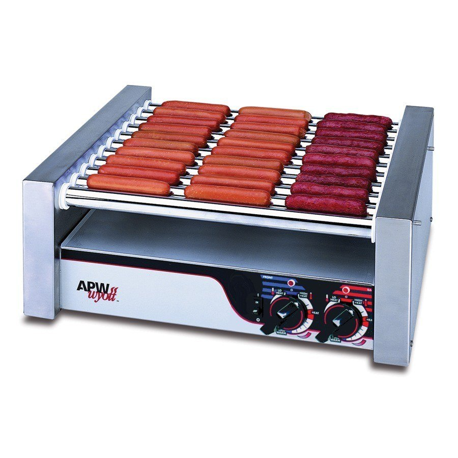 """APW Wyott 120 Volts APW Wyott HRS-31S Non-Stick Hot Dog Roller Grill 19 1/2""""W - Slant Top at Sears.com"""
