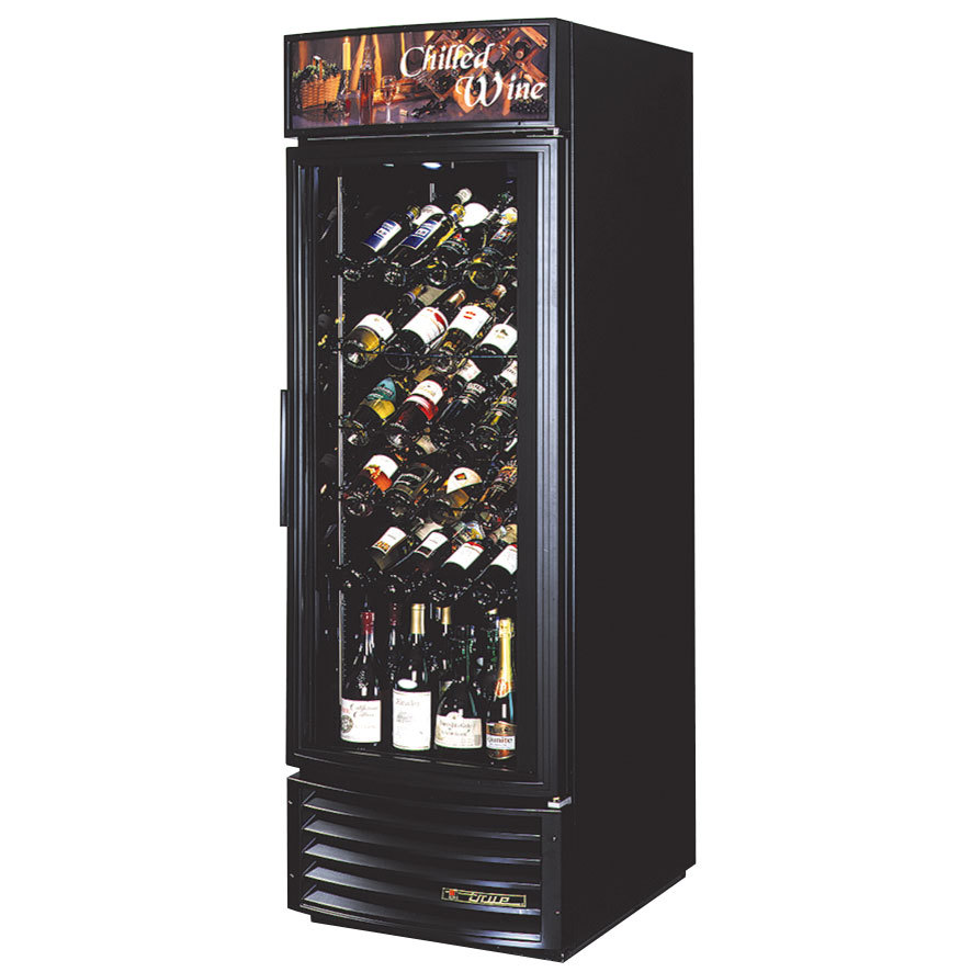 True GDM-23W-RF Black One Door Glass Door Wine Merchandiser with Radius Front - 23 Cu. Ft.