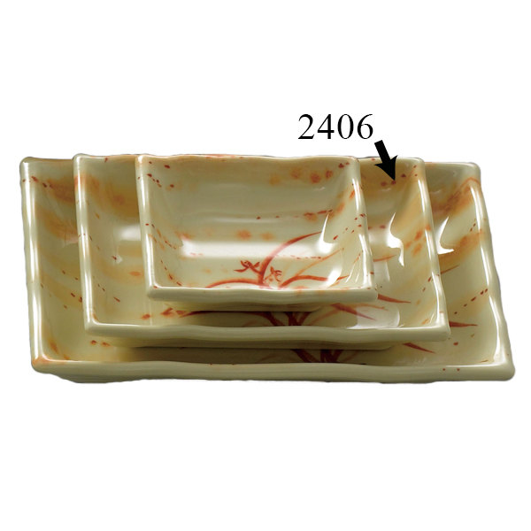 Gold Orchid 8 oz. Rectangular Melamine Wave Plate - 12/Pack