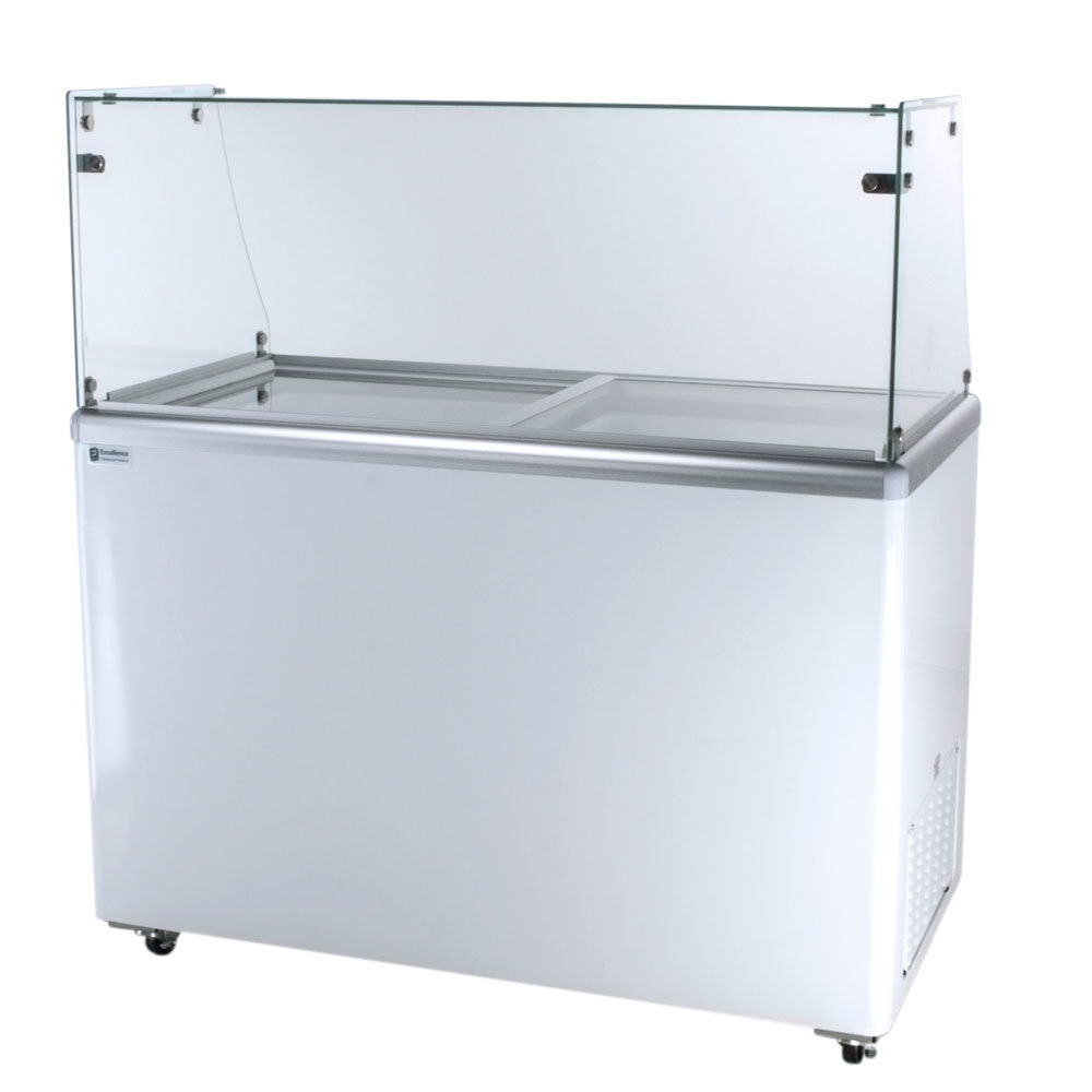 Excellence EDC-8 Ice Cream Freezer Dipping Cabinet with Straight-Sided Glass - 12.5 Cu. Ft.