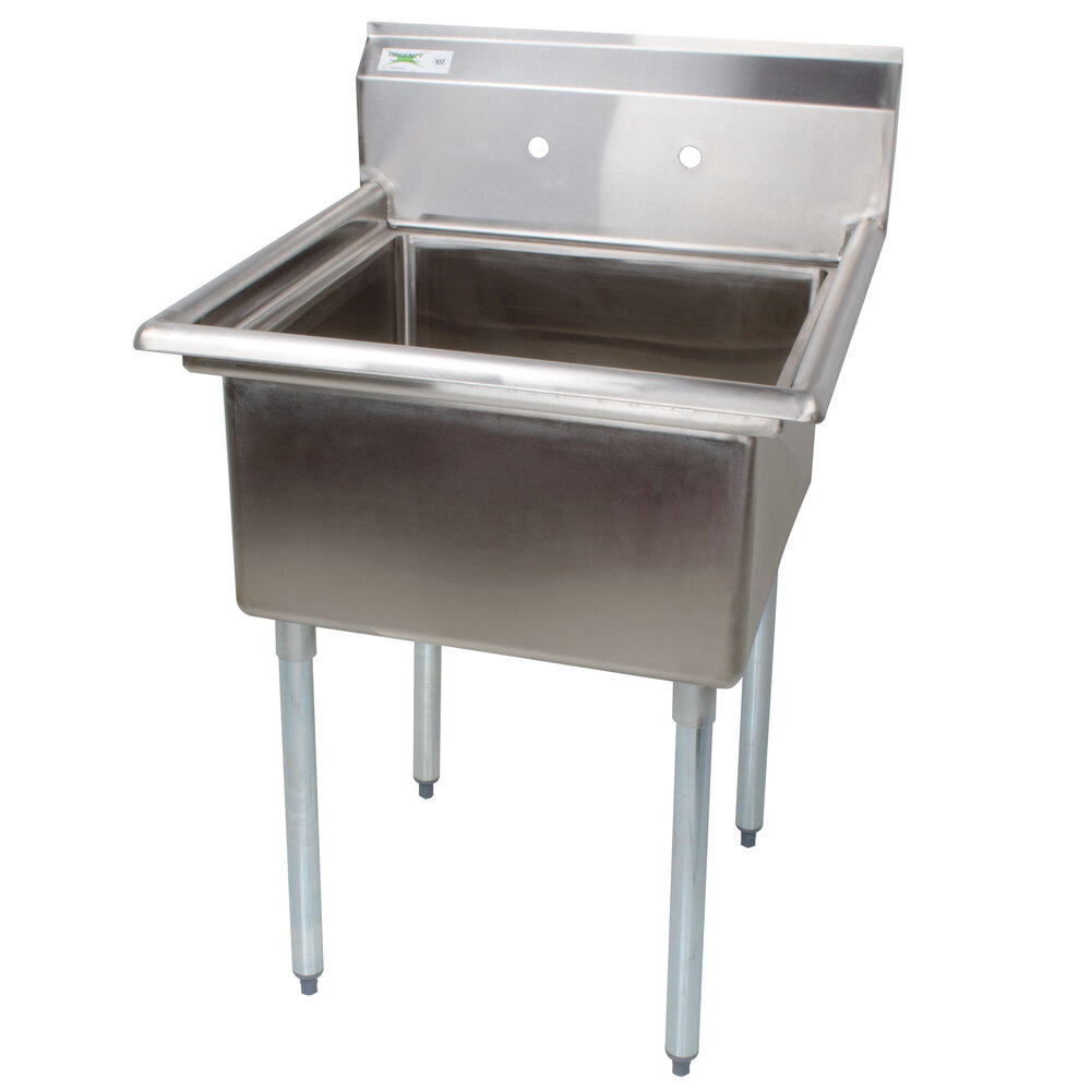 Regency 16 Gauge One Compartment Stainless Steel Commercial Sink without Drainboard - 28 inch Long, 23 inch x 23 inch x 12 inch Compartment