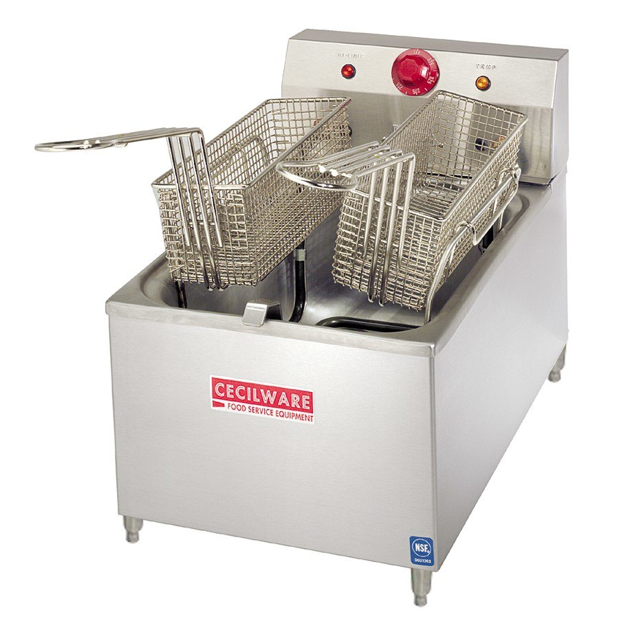 "Grindmaster Cecilware Cecilware EL-170 Stainless Steel Commercial Countertop Electric Deep Fryer with 4"" Legs and 15 lb. Fry Tank - 1800W at Sears.com"