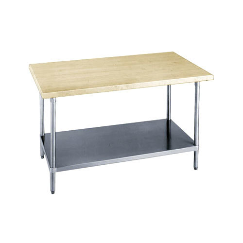 "Advance Tabco H2S-367 Wood Top Work Table with Stainless Steel Base and Undershelf - 36"" x 84"""