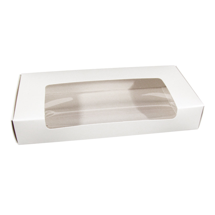 "1-Piece 3/4 lb. Candy Box with Rectangle Window 7 3/8"" x 3 1/2"" x 1 1/4"" - 250/Case"