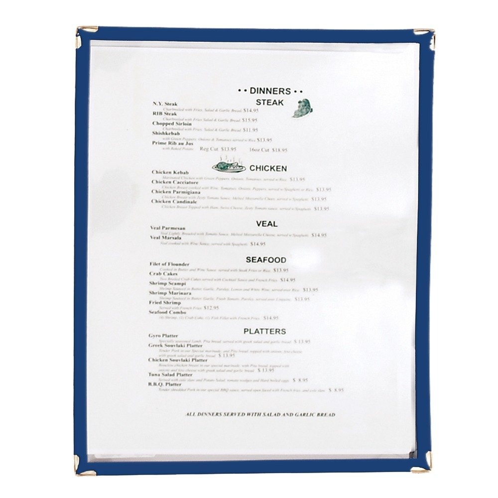 8 1/2 inch x 11 inch Single Pocket Menu Cover - Blue