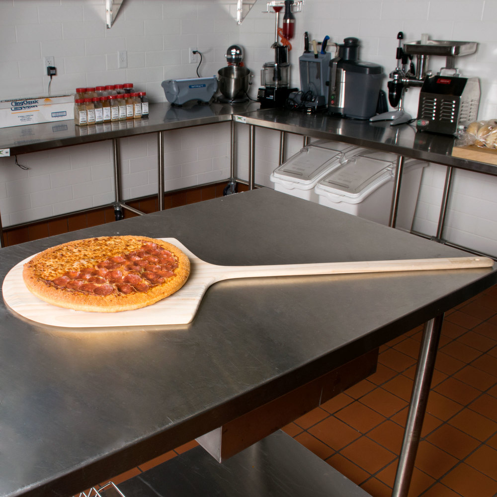 "16"" x 18"" Wooden Pizza Peel with 24"" Handle"