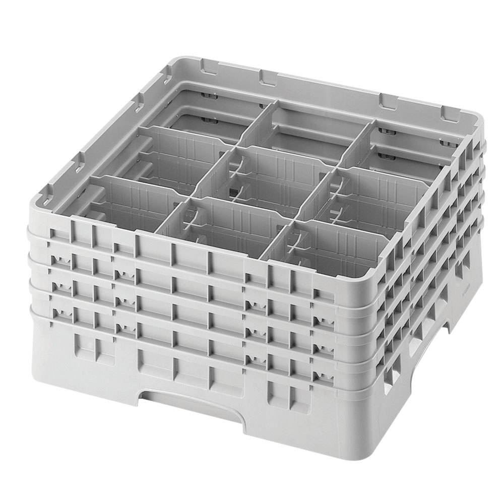 "Cambro 9S1114151 Soft Gray Camrack 9 Compartment 11 3/4"" Glass Rack"