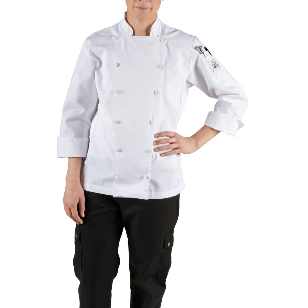Chef Revival LJ025-S Chef-Tex Size 4 (S) White Customizable Ladies Cuisinier Chef Jacket