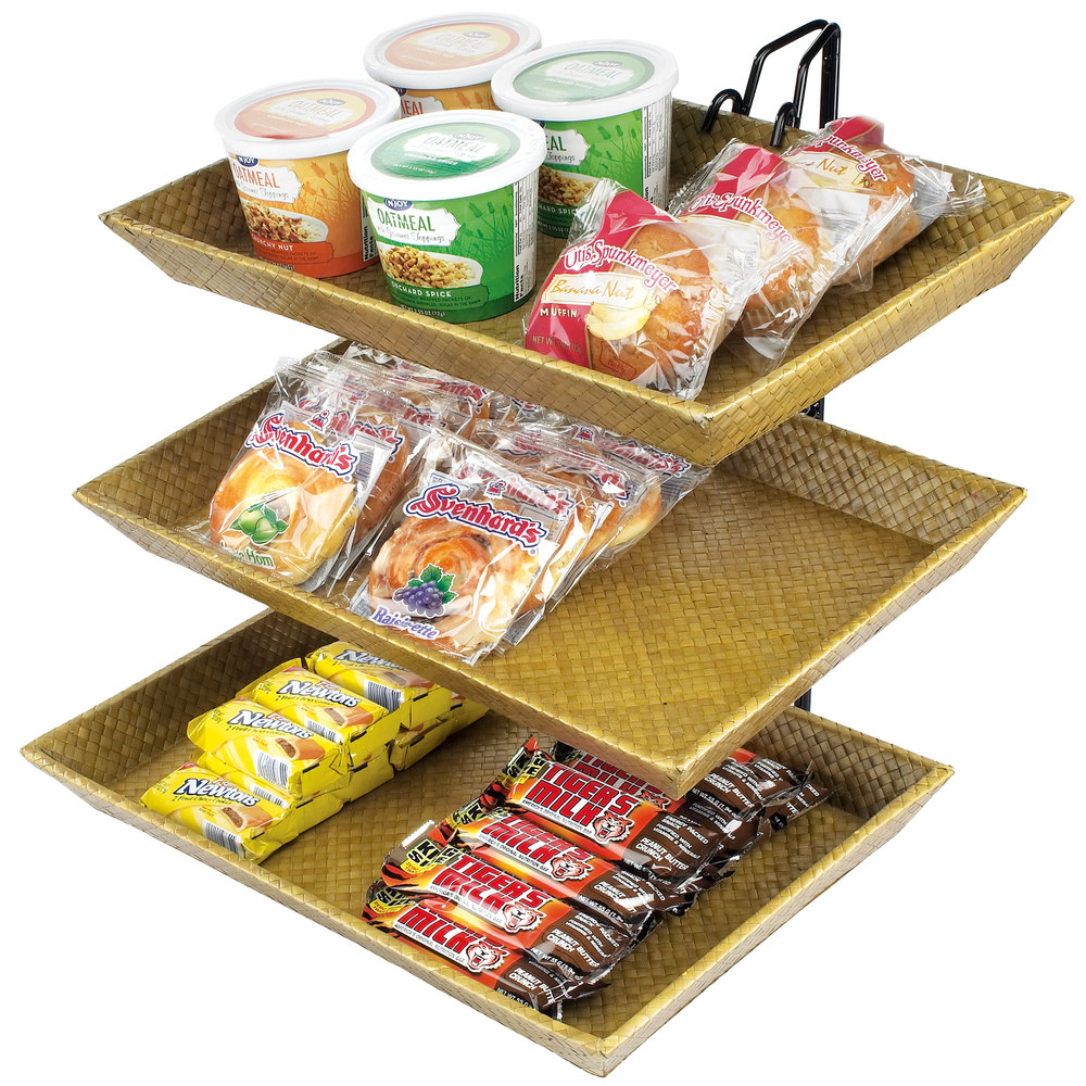 "Cal-Mil 1290-3 Iron Three Tier Wire Merchandiser with Bamboo Trays - 18"" x 19"" x 22"""
