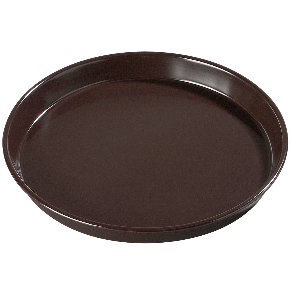 "Carlisle 130001 13"" Round Brown Melamine Serving Tray - 12/Case"