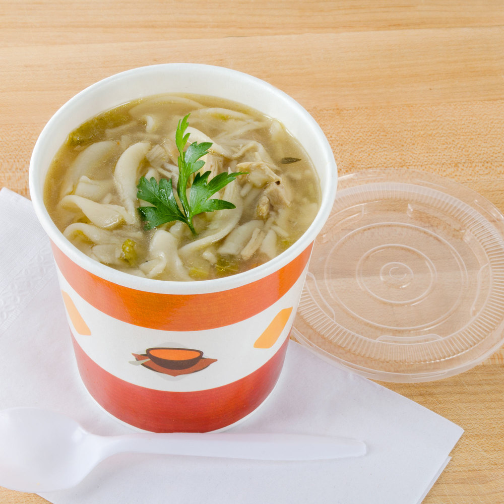 Choice 16 oz. Double-Wall Poly Paper Soup / Hot Food Cup with Plastic Lid - 250/Case