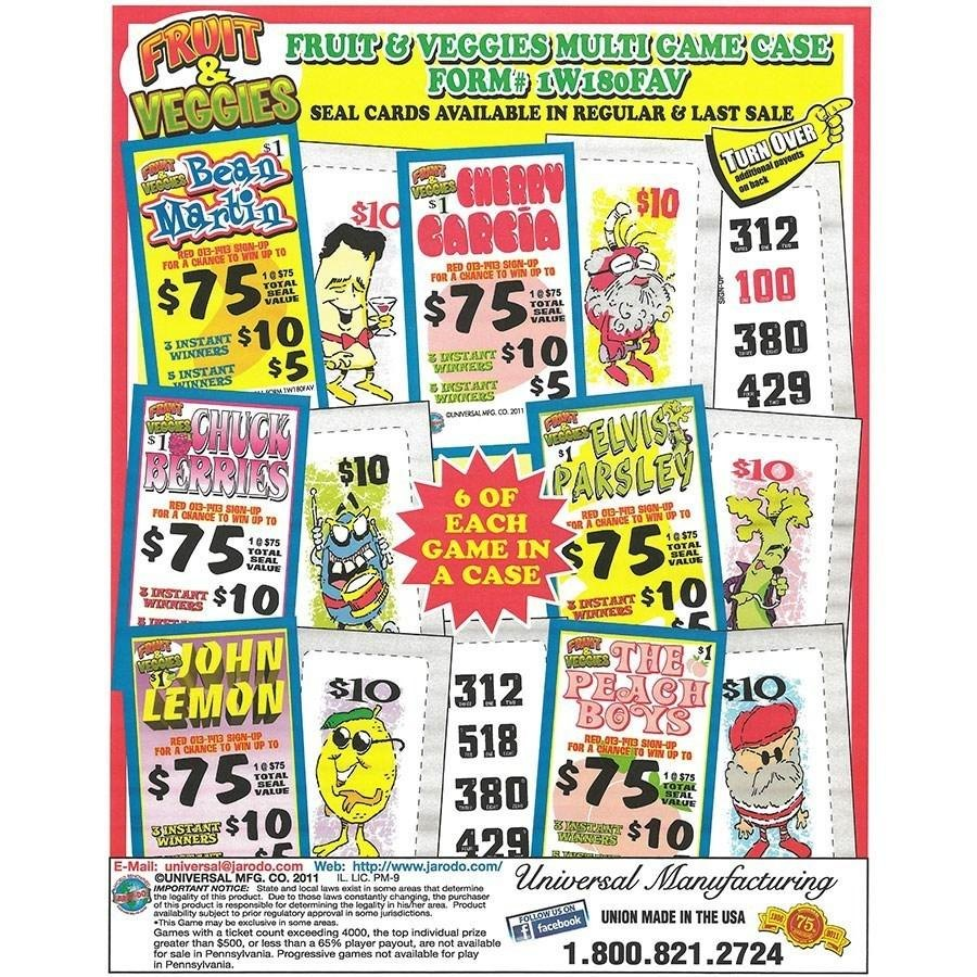 """""""Fruit & Veggies"""" 1 Window Pull Tab Tickets - 180 Tickets Per Deal - Total Payout: $130 at Sears.com"""