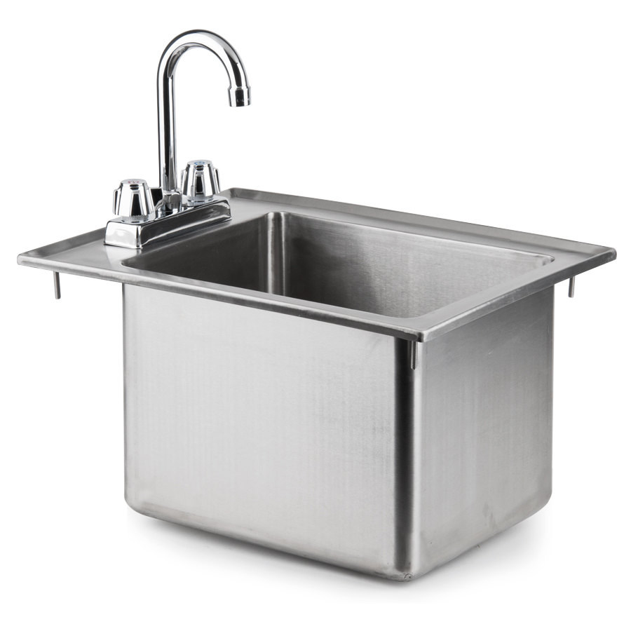 "Regency 16 Gauge One Compartment 10"" x 14"" x 10"" Stainless Steel Drop-In Sink with 8"" Gooseneck Faucet"