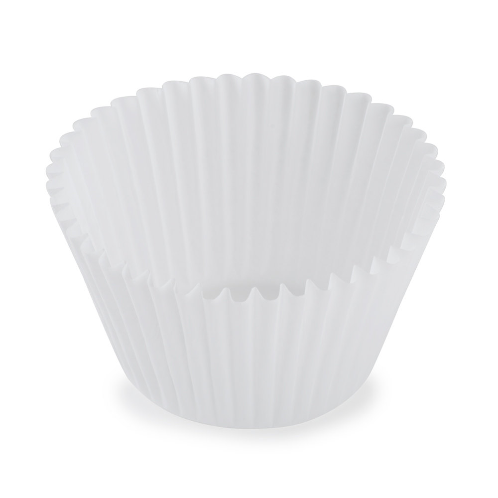 White Fluted Baking Cup 2 1/4 inch x 1 7/8 inch - 10,000 / Case