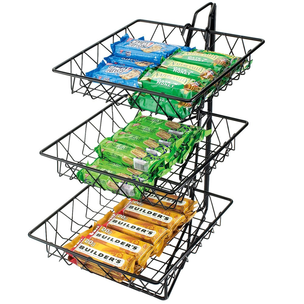 "Cal-Mil 1293-3 Three Tier Merchandiser with Square Wire Baskets - 12"" x 19"" x 20"""