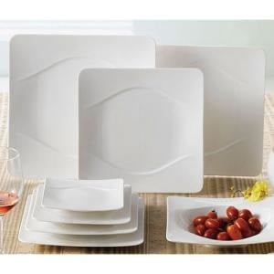 "CAC MDN-16 Modern 10 1/2"" New Bone White Square Porcelain Plate - 12/Case"