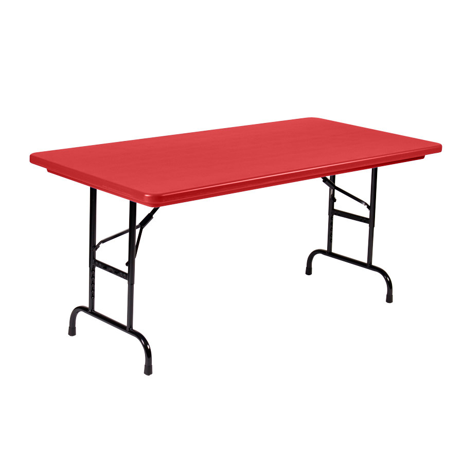 correll adjustable height folding table 30 x 60 plastic red standard legs r series ra3060. Black Bedroom Furniture Sets. Home Design Ideas