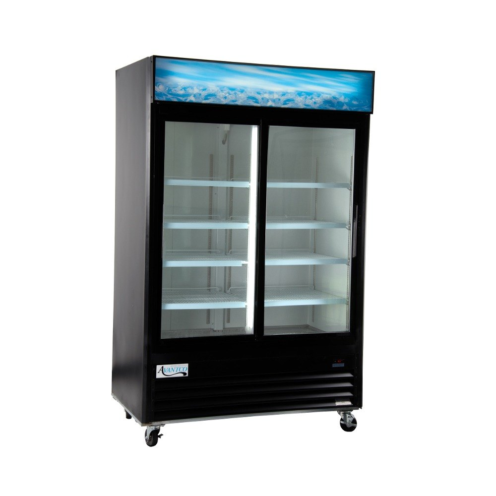 Avantco GDS47 53 inch Sliding Glass Door Black Merchandiser Refrigerator