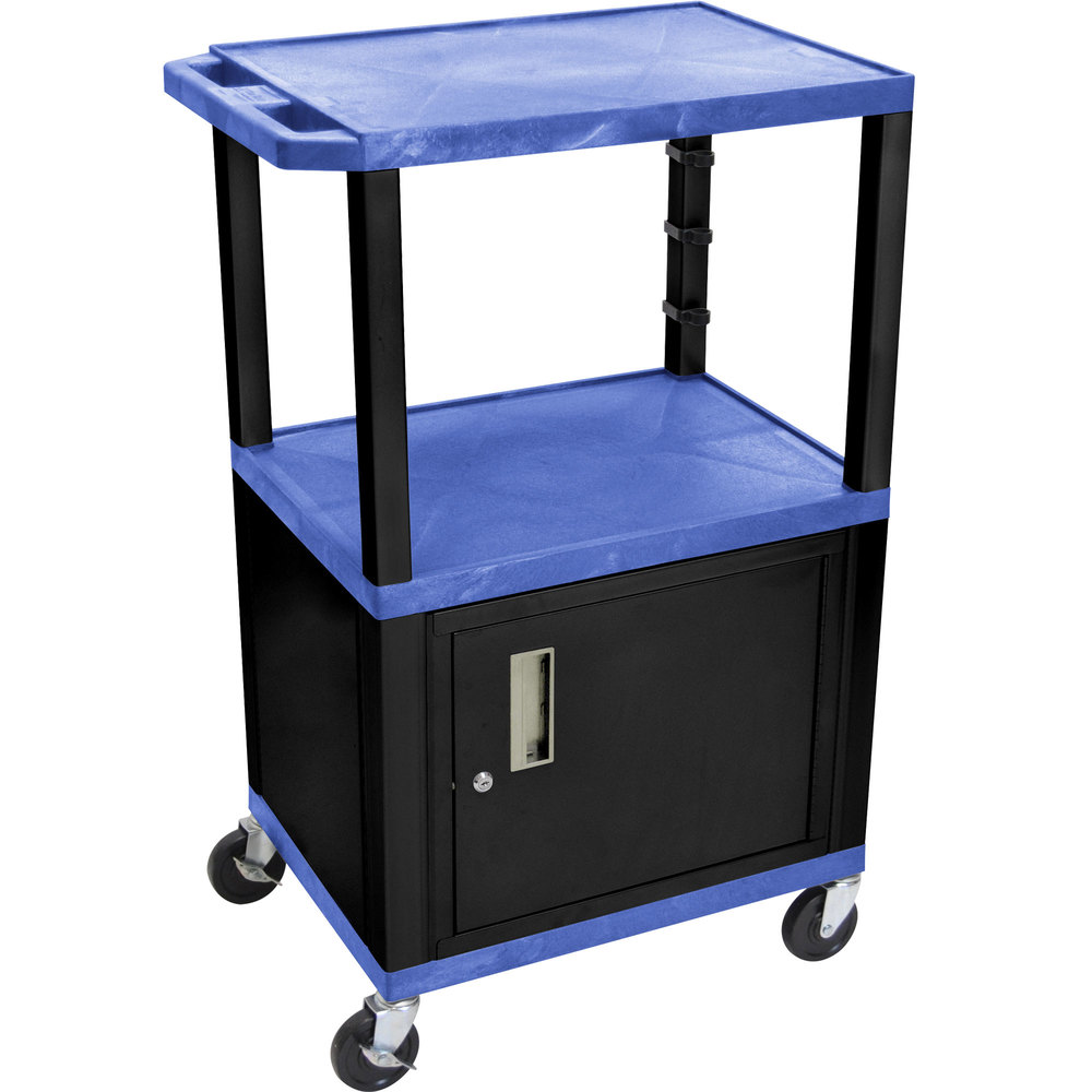 "Luxor / H. Wilson WT2642BUC2E-B Blue Tuffy Two Shelf Adjustable Height A/V Cart with Locking Cabinet - 18"" x 24"""