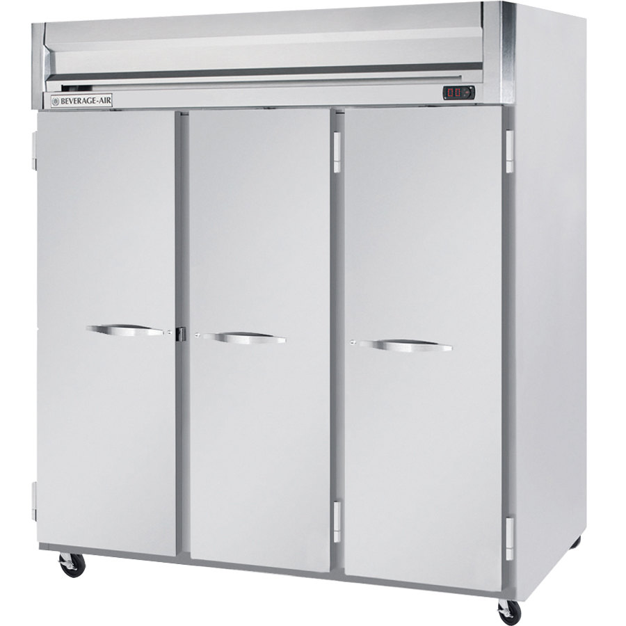 Beverage Air HFPS3-5S 3 Section Solid Door Reach-In Freezer - 74 cu. ft., Stainless Steel Exterior / Interior - Specification Series