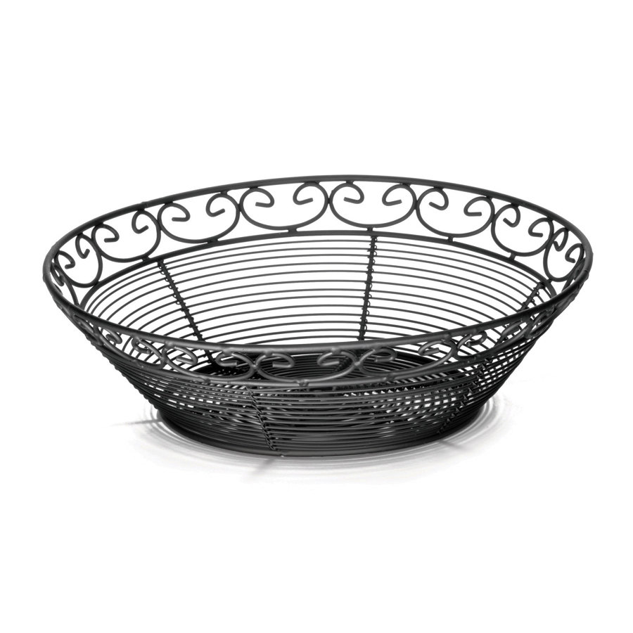 "Tablecraft BK27508 Mediterranean Round Black Metal Basket - 8"" x 2 1/4"""