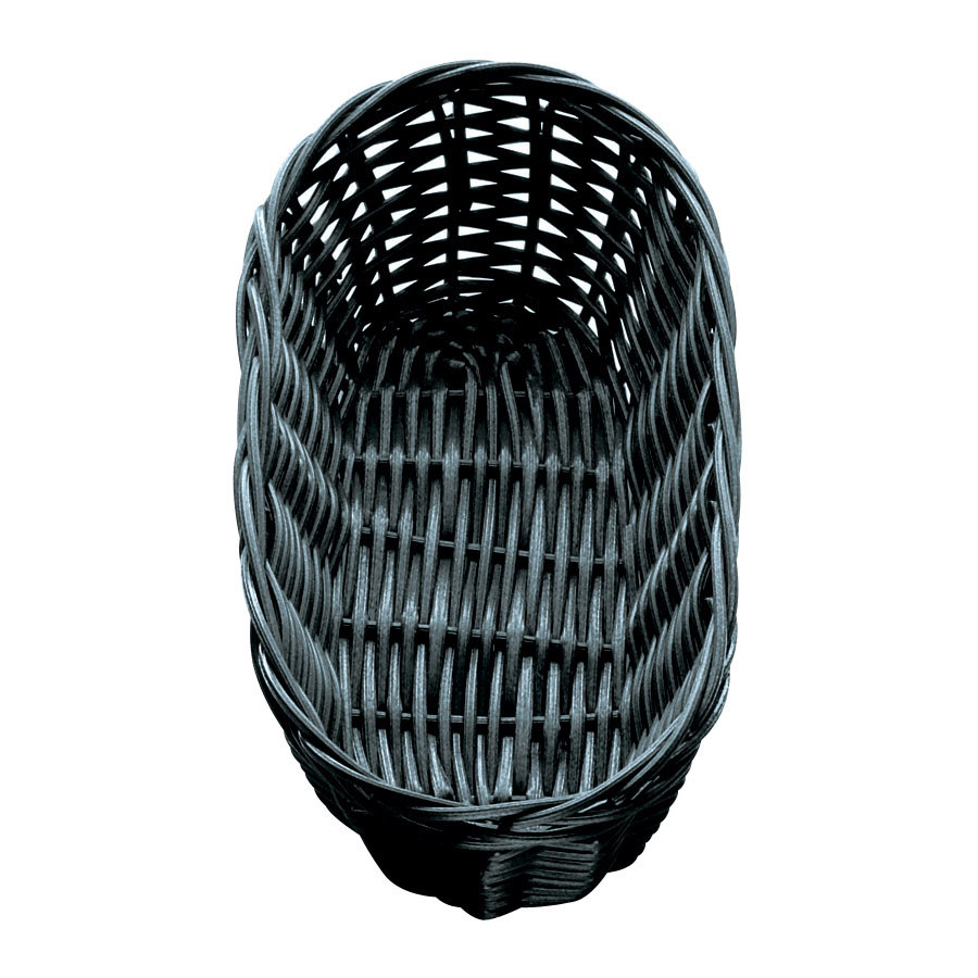 "Tablecraft 2417 Black Oblong Rattan Basket 9"" x 3 1/2"" x 2"" 12 / Pack"