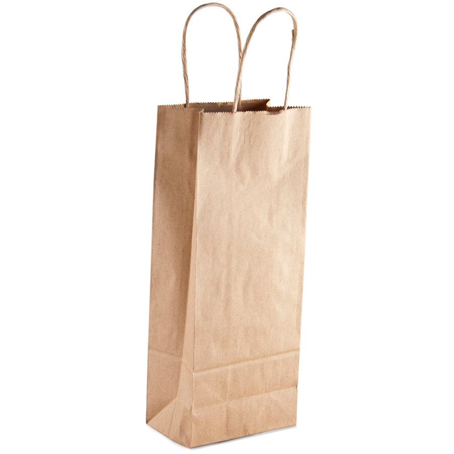 Paper Wine Bags With Handles: Vino Natural Kraft Paper Wine Shopping Bag With Handles 5