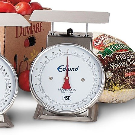 Edlund HD-25 Heavy Duty 25 lb. Portion Control Scale with 8 1/2 inch x 8 1/2 inch Platform